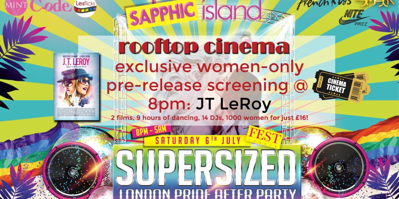 LesFlicks rooftop cinema at SAPPHIC Island Women's Pride Party